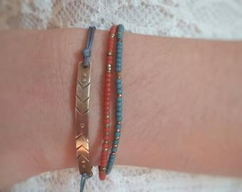 Beaded bracelet. Boho bracelet. Turquoise bracelet. Coral bracelet. Beach jewelry. Pura vida bracelet.
