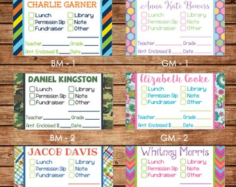 20 Printed Boy or Girl Rectangle School Money Stickers - Can personalize - Choose ONE design