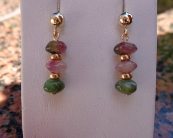 Earrings in gold 585 with tourmaline