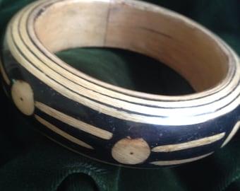 Tribal Design Wood Bangle Bracelet