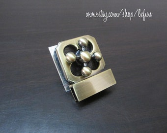 Antique Bronze Purse Lock Clutch Bag Lock Metal Turn Lock Fastner - one set