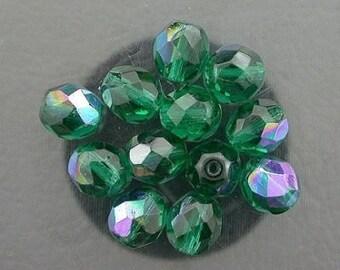 12 green  ab czech fire crystal beads 8mm