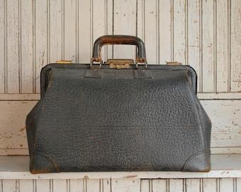1913 Vintage Cow Hide Doctor Bag