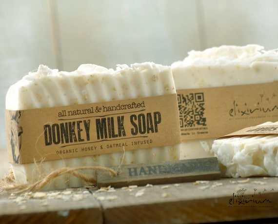 DONKEY MILK SOAP • With Honey & Oatmeal infused, a rustic, moisturizing, handmade milk soap for organic skin care.