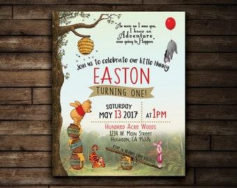 Winnie the Pooh Birthday Invitation | Hundred Acre Woods Birthday Invitation