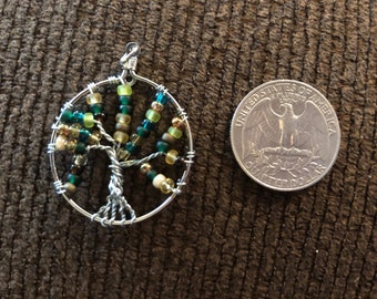Tree of Life Pendant Variation of Greens Browns Creams for a necklace without chain