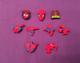 9-pc Spiderman Shoe Charms for Crocs, Silicone Bracelet Charms, Party Favors, Jibbitz