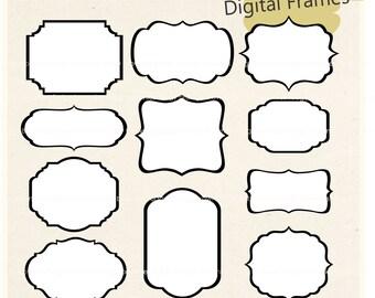 ON SALE white digital frame clip art bracket frames white