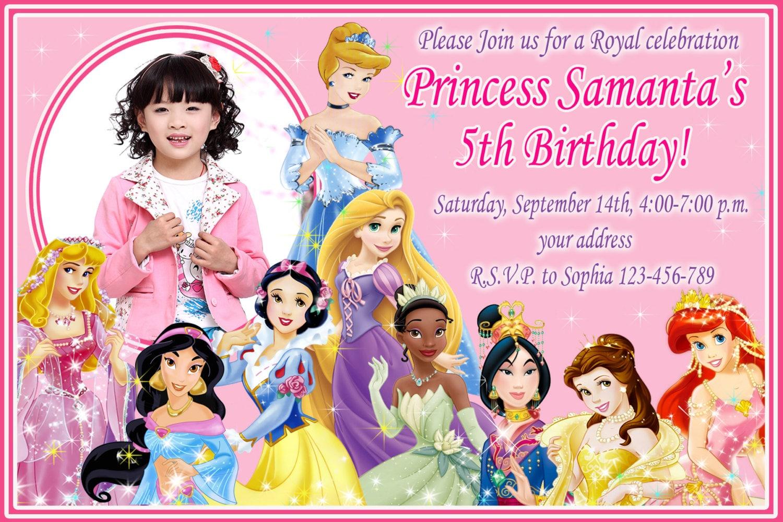 Sale disney princess birthday invitation disney princess zoom stopboris Images