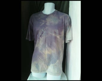Acid washed medium shirt Cherokee tee purple violet lilac iris mauve periwinkle amethyst Carolina blue cream cotton t-shirt (shirt no.117)