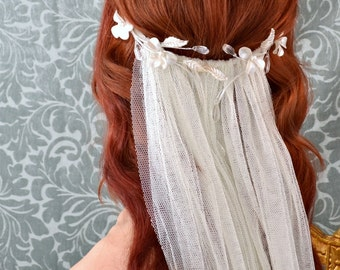 Wedding veil head peice, ivory crystal bridal headband, bridal veil, wedding accessories