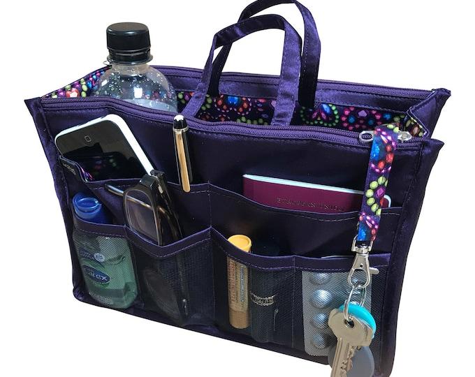 Luxury Purse ORGANIZER Insert, Purse Insert, Bag Organizer, Handbag Organizer, handbag organiser, Purple Satin with Hearts Lining