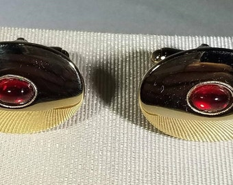 Vintage-Haband-Gold-Red Gemstone-40th Year-Cuff Links-Jewelry-Mens Accessories