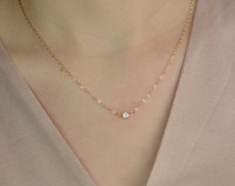 Tiny CZ Diamond Necklace, Sterling Silver, Gold, Rose Gold, Delicate Necklace, Layering Necklace, Bridal Necklace, Bridesmaid Gifts LA137