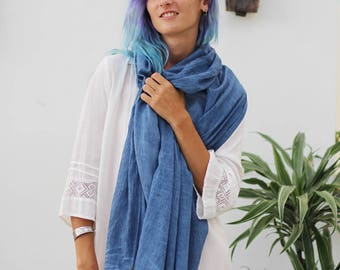 Blue Cotton Scarf, Long Scarf, Cotton Scarf Women, Scarf For Men, Blue Scarves, Royal Blue Scarf, Valentines Day Gift For Him, Gift For Her