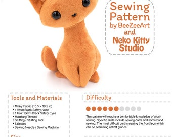 Sitting Kitty Cat Stuffed Animal Sewing Pattern, Plush Toy Pattern, PDF