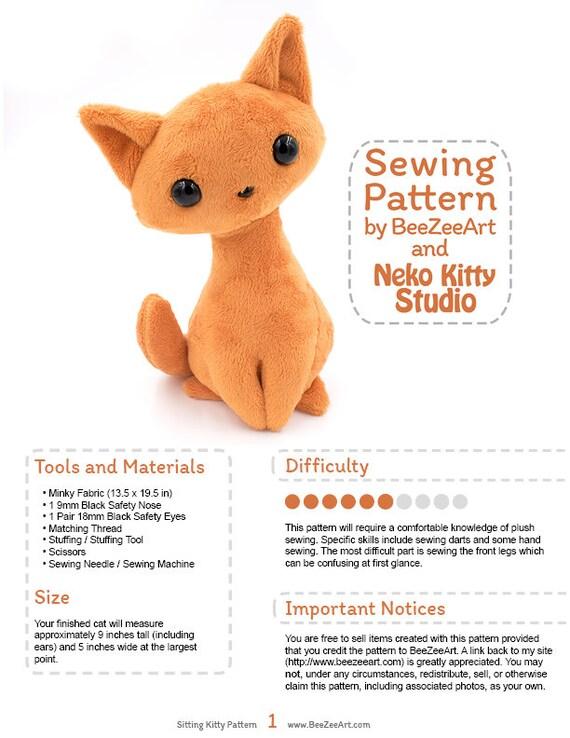 Sitting Kitty Cat Stuffed Animal Sewing Pattern Plush Toy