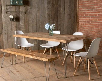 """Modern dining table with reclaimed wood top and Hairpin legs. 60"""" L x 30""""W x 30"""" tall, seats 4-6 people. 1.65"""" top. free shipping special"""