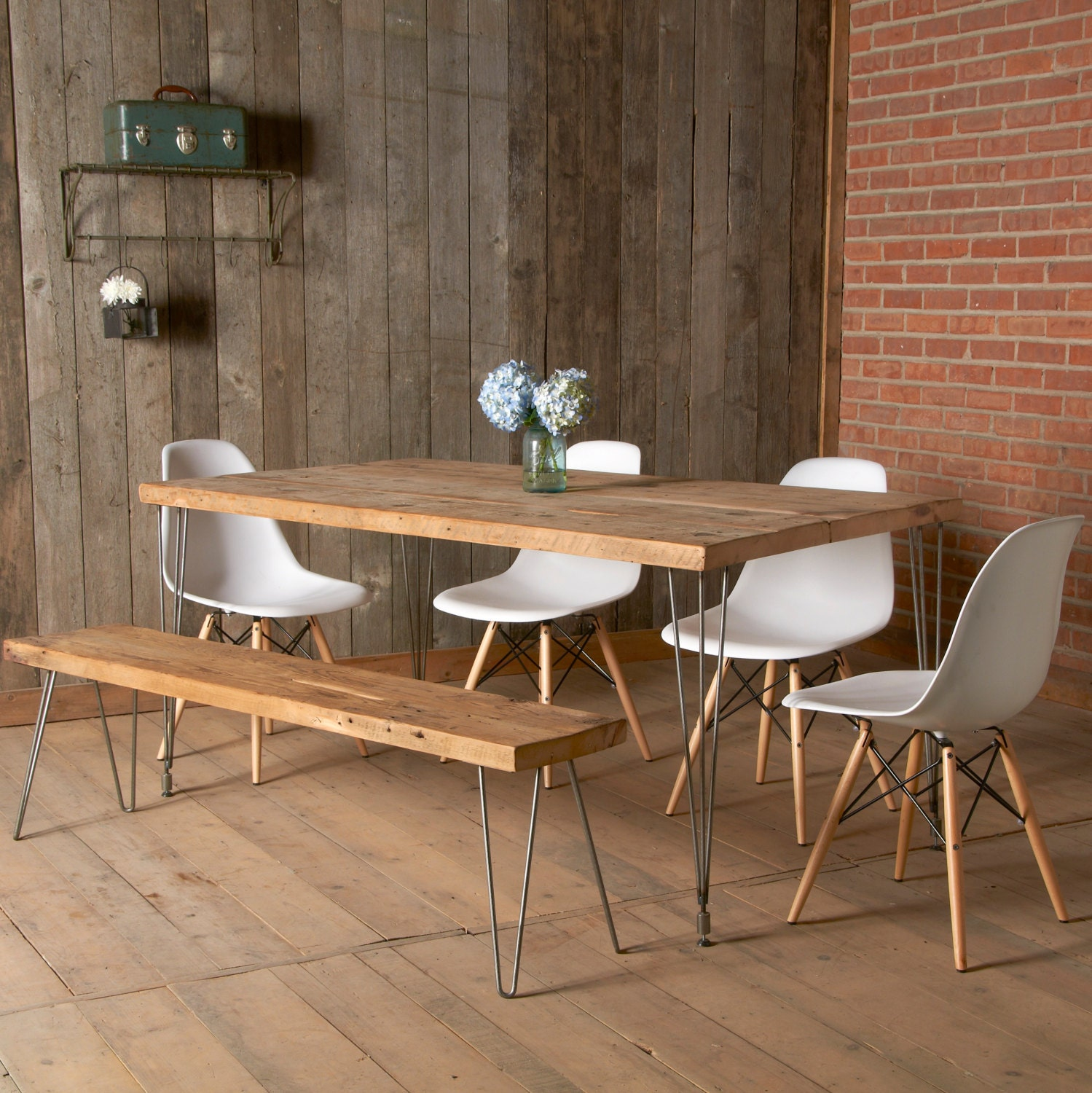 Modern Dining Table With Reclaimed Wood Top And Hairpin Legs