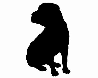 Sharpei Dog Breed Silhouette Custom Die Cut Vinyl Decal Sticker - Choose your Color and Size