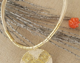 Buriti necklace, 18k gold-platted