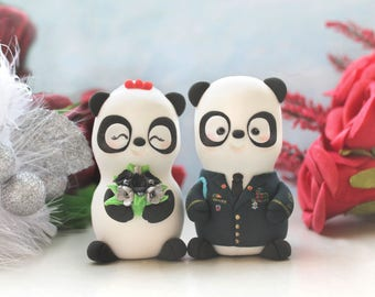 Wedding cake toppers Military Panda - US Army dress blue jacket uniform - bride groom figurines personalized unique red silver navy blue