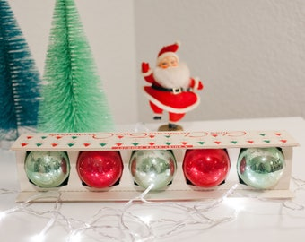 Set of 5 Large Vintage Christmas Ornaments. Shiny Brite Ornaments in Shiny Brite box.