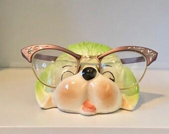 Vintage Eyeglass Dog Holder/Ceramic Dog/Green Poodle/Eyeglasses/Spec Holder