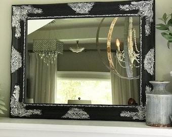 Black and Silver Baroque Mirror, Ornate Mirror, Bathroom Mirror, Vanity Mirror