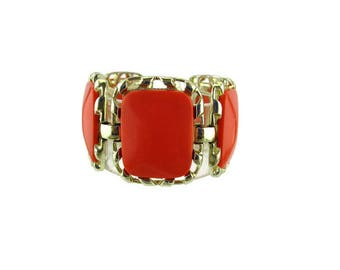 Coro Wide Bracelet/ Orange Thermoset Oblong Links/ Gold Tone 5 Panel Bracelet/ Mid century Lucite Bracelet