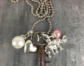 Skeleton Key Necklace with Elephant and Heart Charms