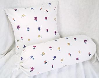 """White Pillow cover set, flowers, girl bedroom decor, neck roll bolster 6x14"""", 14"""" cushion cover, custom"""
