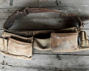Leather Tool Pouch Belt - Triple  Pouch Carpenter Belt with Pliers Holder, 2 Hammer Holders - Nicholas Style Contractors Belt - Lineman Tool