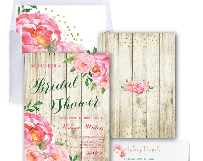 Wood Bridal Shower Invitation // Peonies // Peony // Green and Pink Bridal Shower Invite // Blush // Gold Glitter // BORDEAUX COLLECTION
