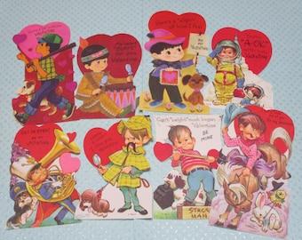 Vintage Children's Valentine Day Cards Lot-Ephemera-Mixed Media-Paper-Crafts-Scrap Booking-UNUSED-Set of 8