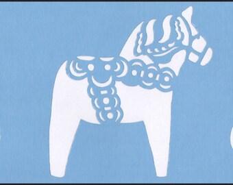 Scandinavian Swedish Dala Horse Border Stencil