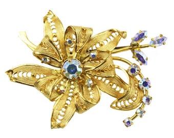 Vintage Rhinestone Flower Brooch, Large Gold Flower Brooch, Large Gold Flower Pin, Aurora Borealis Rhinestone Brooch