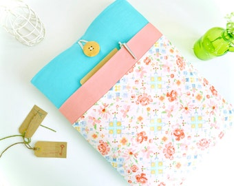 "iPad Case fit any iPad Pro, iPad Air, iPad Mini, 7.9"", 9.7"", 10.5"", 12.9"", Handmade Floral Aqua and Peach Tablet Case with Pocket"