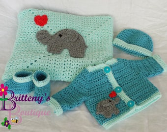 Elephant Love Baby Blanket Set Baby Elephant Blanket Baby Elephant Sweater Elephant Blanket Elephant Sweater Elephant Baby Shower Gift 03Mo