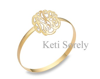 14K Gold Filled - Initials Bangle - Monogram Bangle With Your Initials in Yellow or Rose Gold - Small or Large Sizes