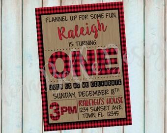 Buffalo Plaid Birthday Invitation // Lumberjack Birthday // Flannel Up for Some Fun Birthday // Black & Red Plaid // Printable // Download