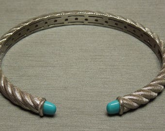 "Estate Sterling Silver Braided Rope Persian Turquoise Cuff Bangle Bracelet 2.5"" x 1.75"""