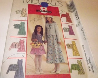 McCall's Girl's Dress & Jacket Sewing Pattern 2077 Size CJ (10, 12, 14)