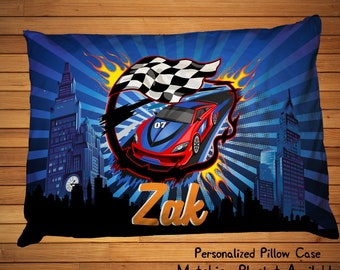 Personalized Race Car Pillowcase, Race Car Bedding, Race Car Bedroom Decor, Race Car Pillowcase, Nascar Pillowcase, Race car theme