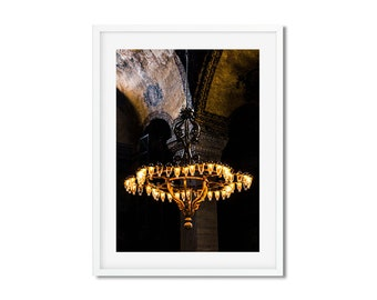 Photography Fine Art - The mosque Aya Sofya Istanbul in Turkey - wall decor - travel chandelier