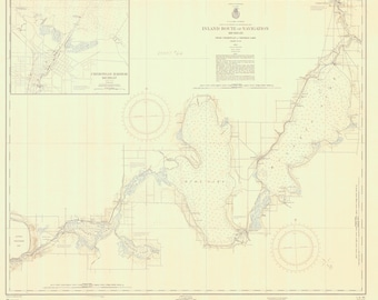Michigan Inland Route of Navigation - Historical Map 1955