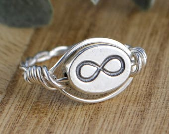 REVERSIBLE Infinity Symbol Ring- Sterling Silver, Yellow or Rose Gold Filled Wire with Sterling Silver Bead -Size 4 5 6 7 8 9 10 11 12 13 14