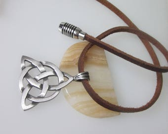 Celtic Triquetra Necklace, Celtic Jewelry, Trinity Knot Metal Pendant, Unisex Jewelry, Magnetic Clasp, Brown Leather Necklace