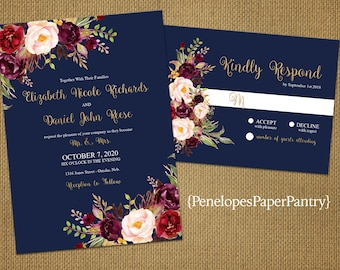 Romantic Navy Fall Wedding Invitation,Navy Blue,Burgundy,Marsala,Blush,Roses,Gold Print,Shimmery,Elegant,Printed Invitation,Wedding Set