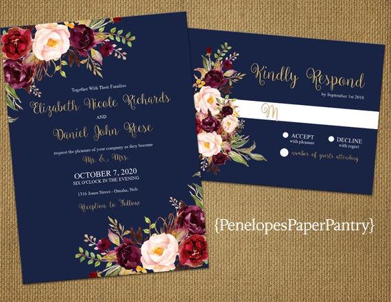 Fall Color Wedding Invitations: Romantic Navy Fall Wedding InvitationNavy